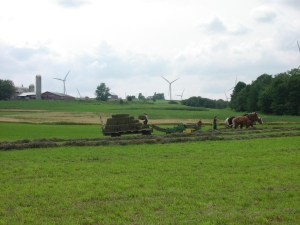 Windmills and Hay Wagon, Lowville